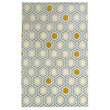 Tapis 160x230 cm IZIA coloris jaune et bleu