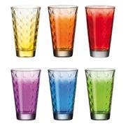 Verre long drink Optic / Set 6 verres multicolores - Leonardo multicolore en verre