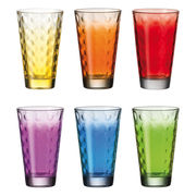 Verre long drink Optic / Set 6 verres multicolores - Leonardo multicolore en verre